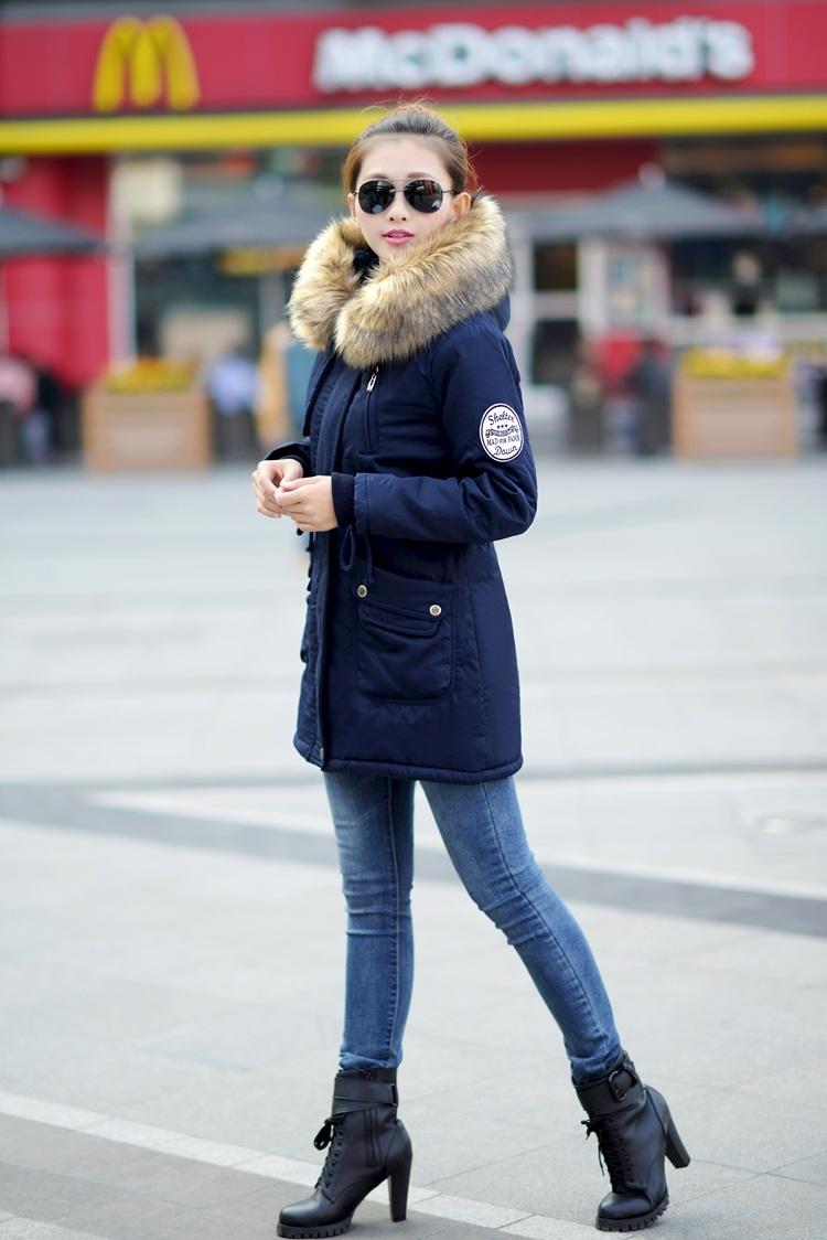 Парка синяя зимняя женская